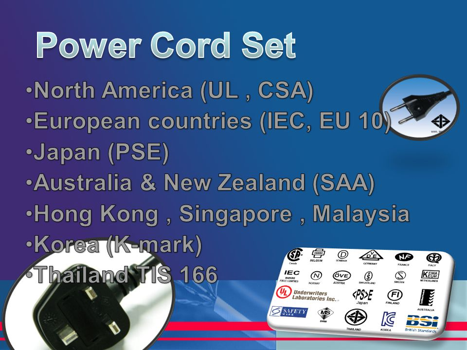 Power Cord Set North America (UL , CSA)