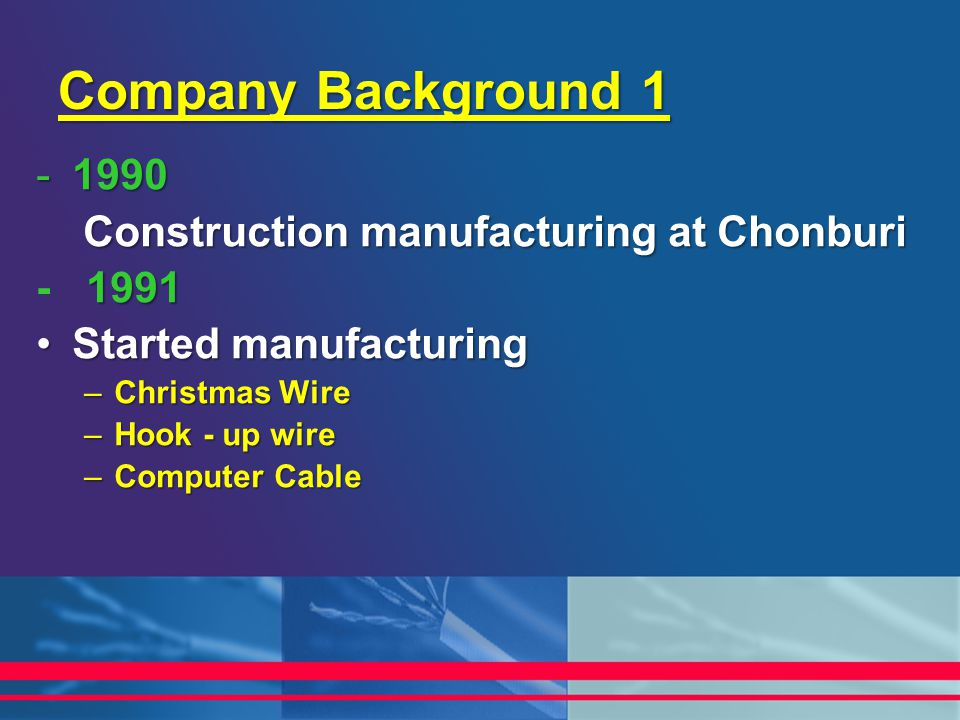 Company Background 1 1990 Construction manufacturing at Chonburi