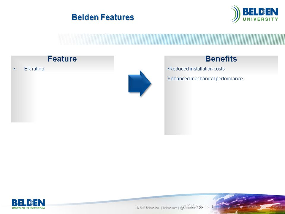 Belden Features Feature Benefits ER rating Reduced installation costs