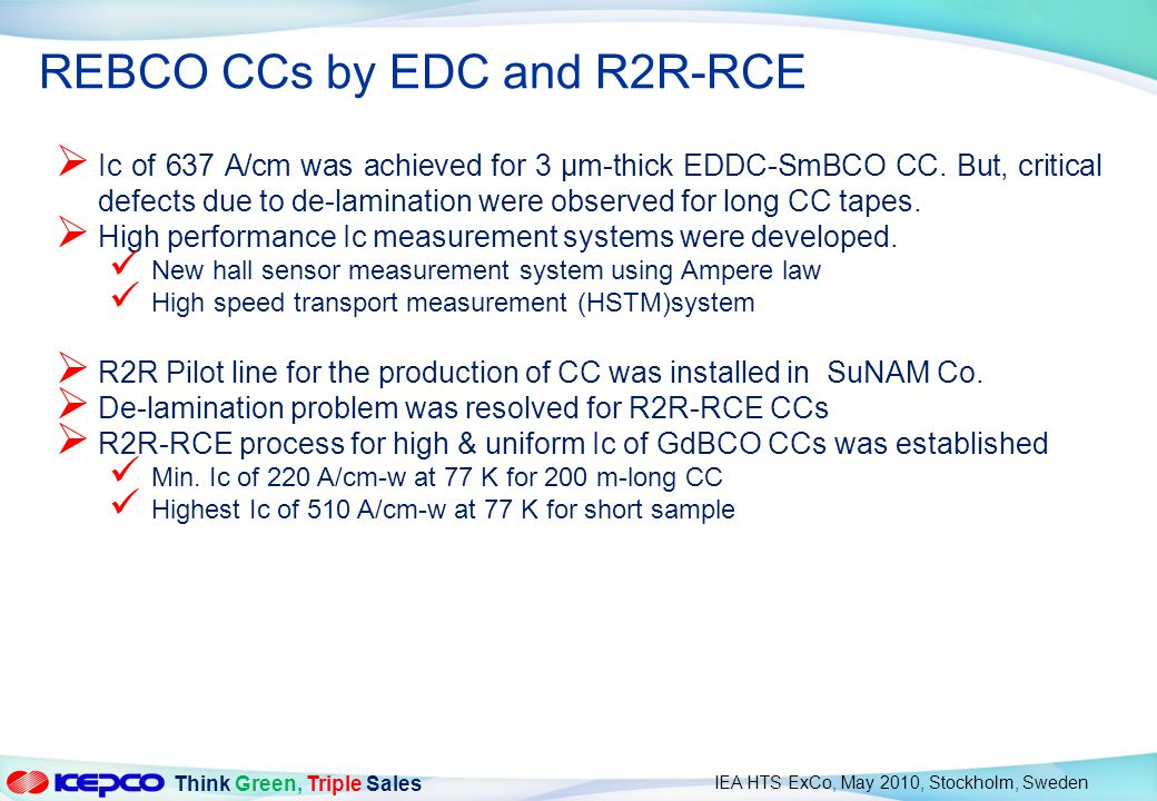 REBCO CCs by EDC and R2R-RCE