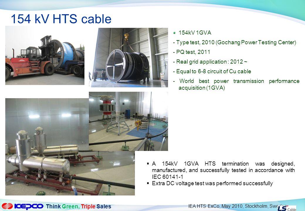154 kV HTS cable 154kV 1GVA. - Type test, 2010 (Gochang Power Testing Center) - PQ test, 2011. - Real grid application : 2012 ~