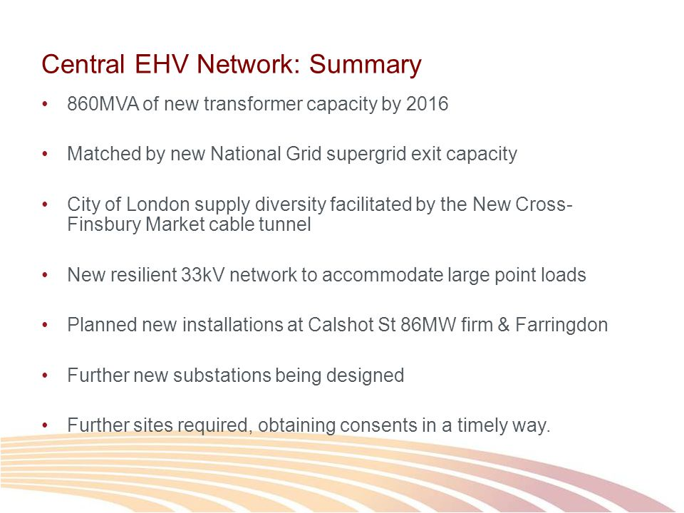Central EHV Network: Summary