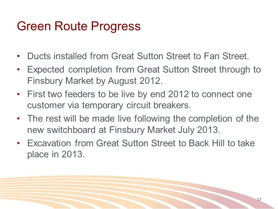 Green Route Progress Ducts installed from Great Sutton Street to Fan Street.