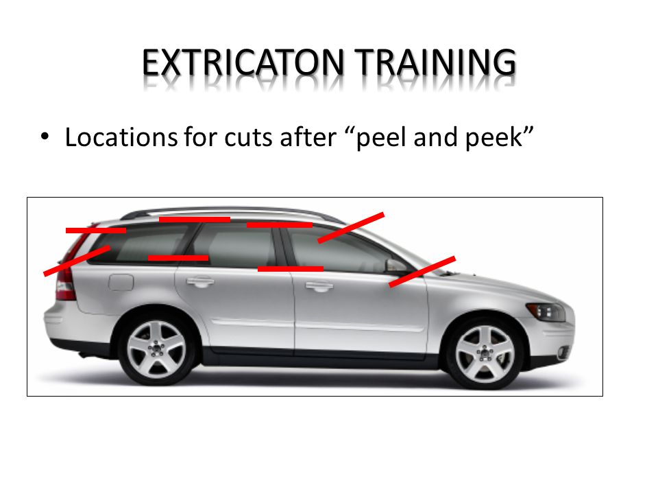 EXTRICATON TRAINING Locations for cuts after peel and peek