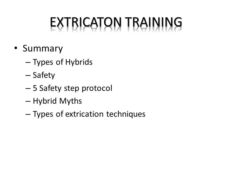 EXTRICATON TRAINING Summary Types of Hybrids Safety