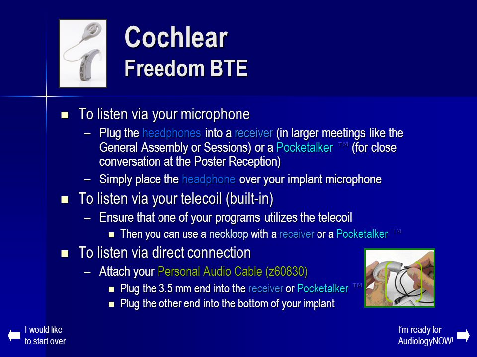 Cochlear Freedom BTE To listen via your microphone