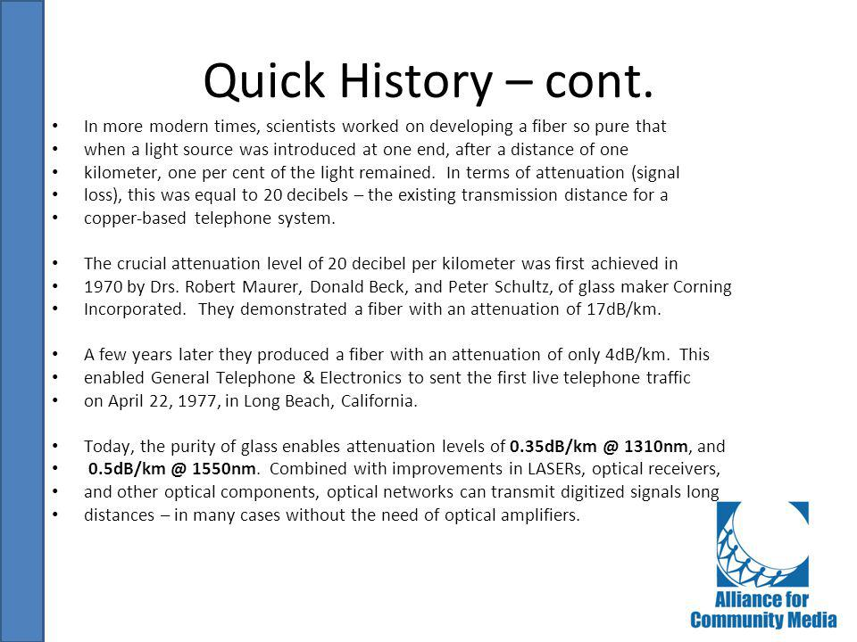 Quick History – cont. In more modern times, scientists worked on developing a fiber so pure that.