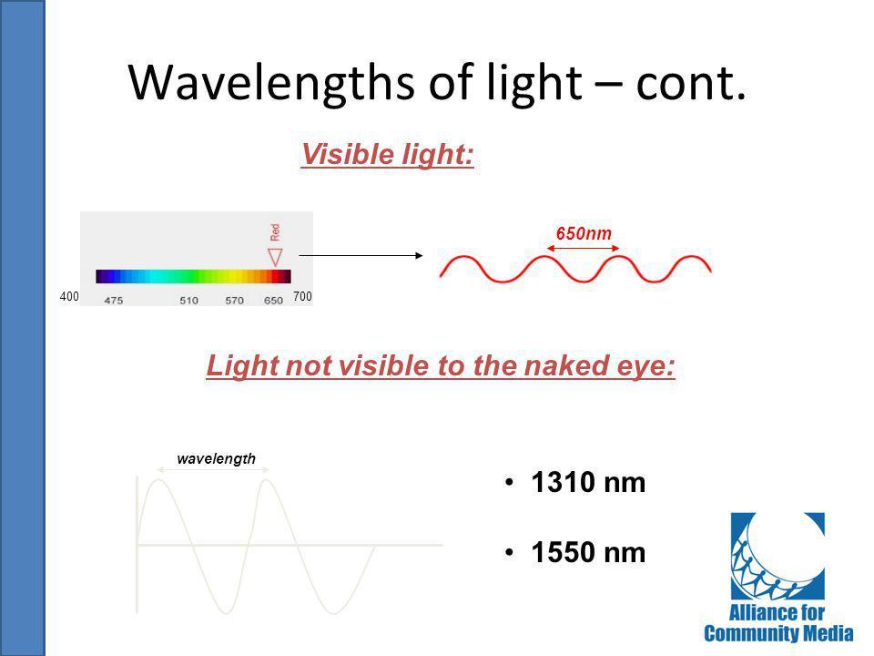 Wavelengths of light – cont.