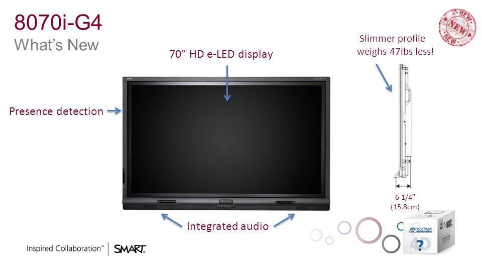 8070i-G4 What's New 70 HD e-LED display Presence detection