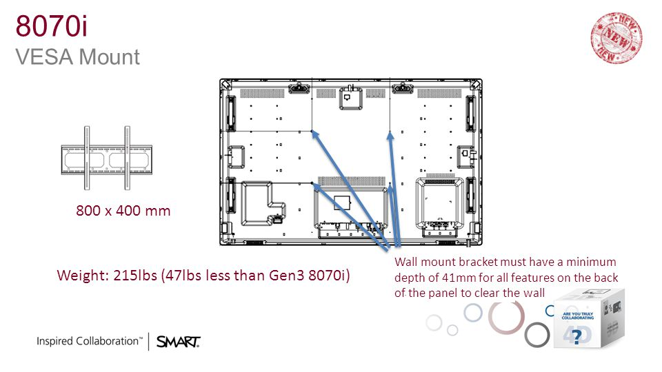 8070i VESA Mount 800 x 400 mm. Wall mount bracket must have a minimum. depth of 41mm for all features on the back.