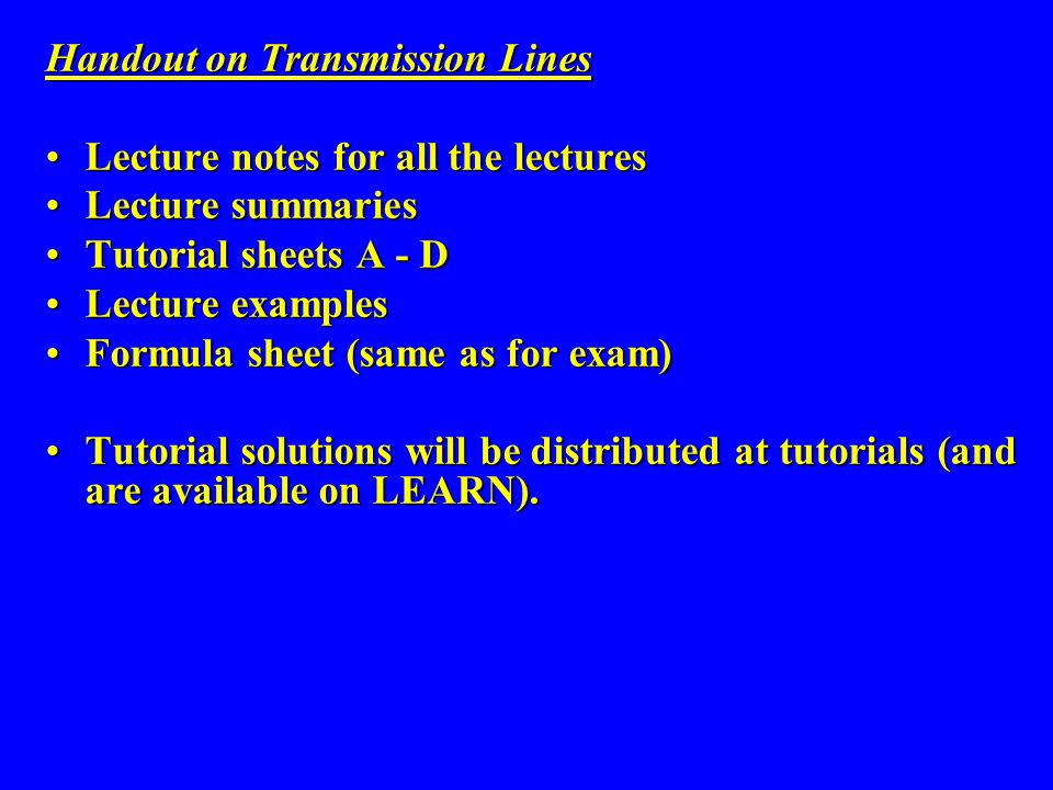 Handout on Transmission Lines
