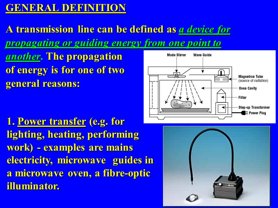 GENERAL DEFINITION A transmission line can be defined as a device for. propagating or guiding energy from one point to.
