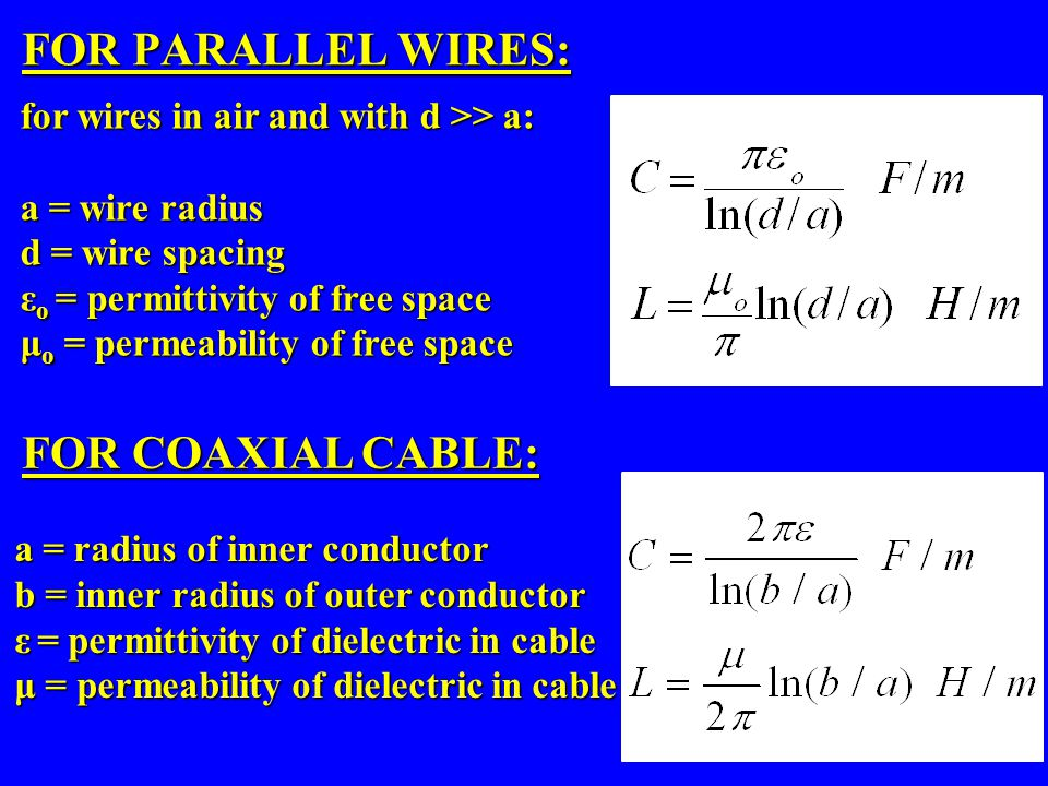 FOR PARALLEL WIRES: FOR COAXIAL CABLE: