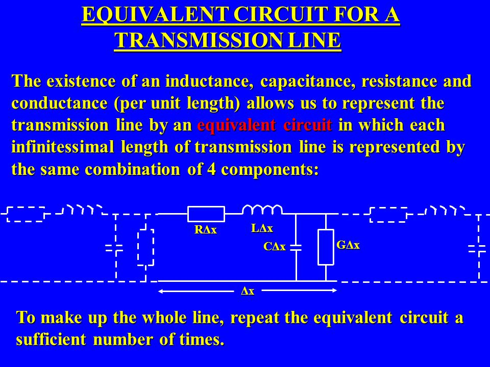 EQUIVALENT CIRCUIT FOR A TRANSMISSION LINE