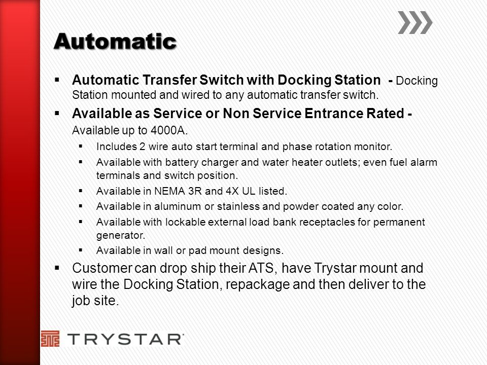Automatic Automatic Transfer Switch with Docking Station - Docking Station mounted and wired to any automatic transfer switch.