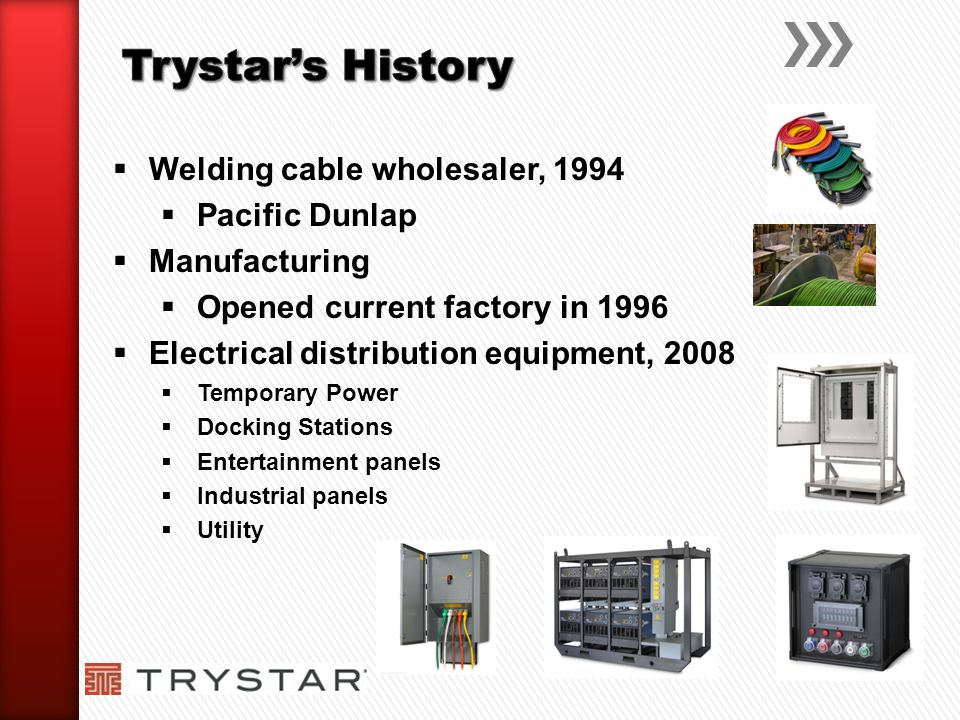 Trystar's History Welding cable wholesaler, 1994 Pacific Dunlap