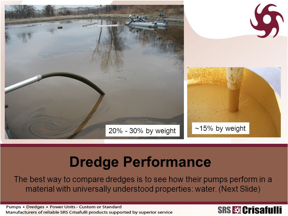 ~15% by weight 20% - 30% by weight. Dredge Performance.