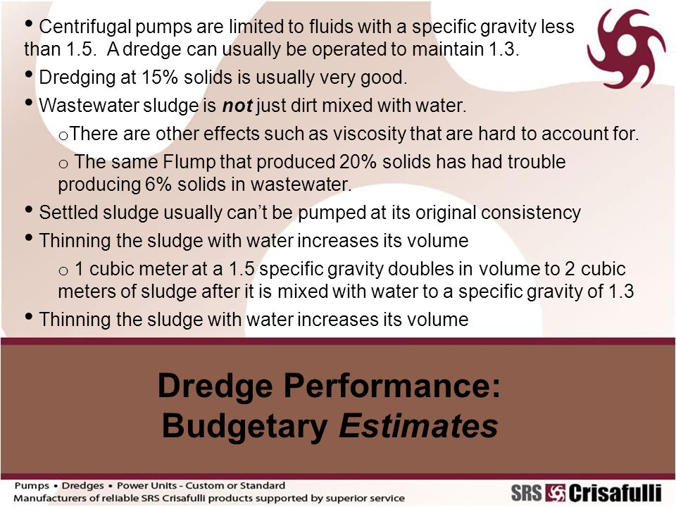 Dredge Performance: Budgetary Estimates