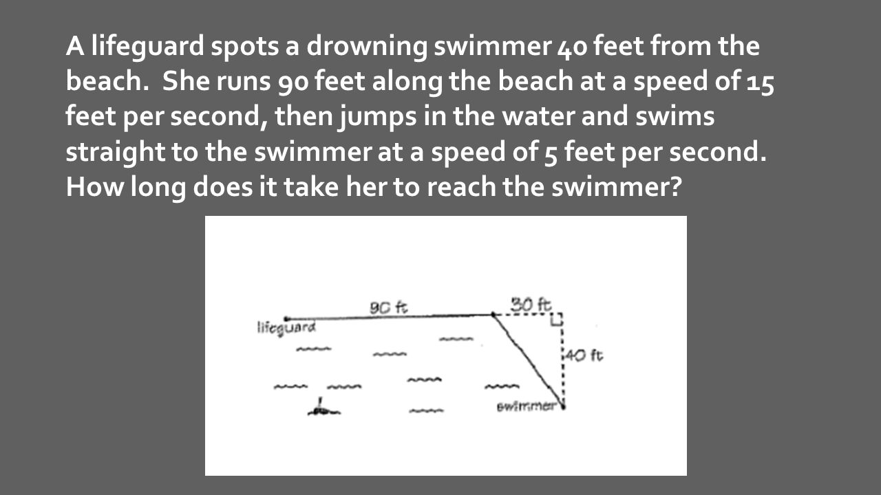 A lifeguard spots a drowning swimmer 40 feet from the beach