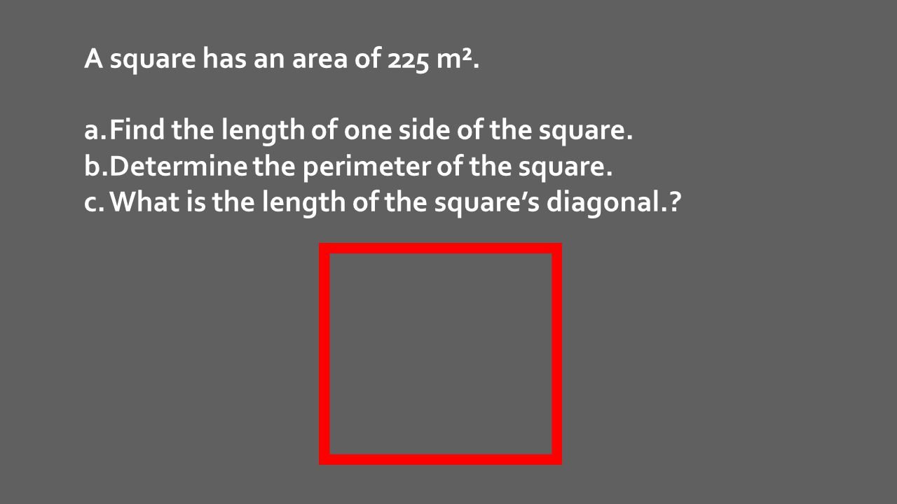 A square has an area of 225 m².