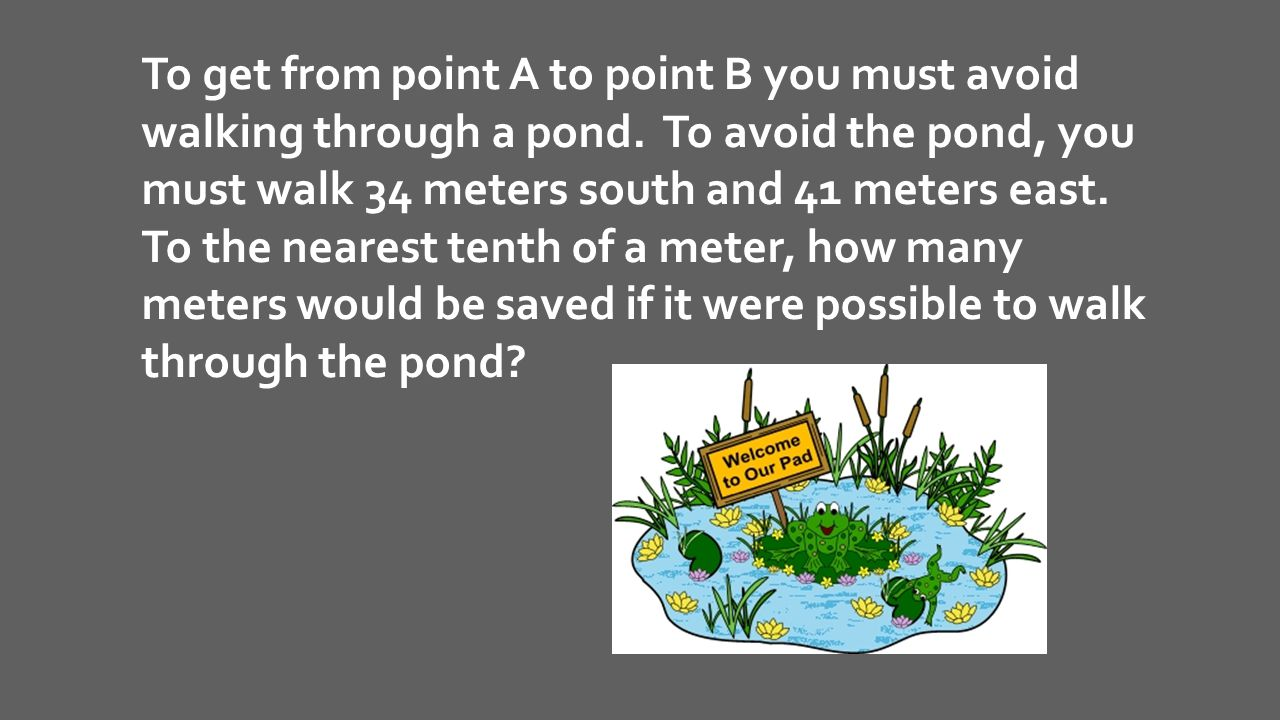 To get from point A to point B you must avoid walking through a pond