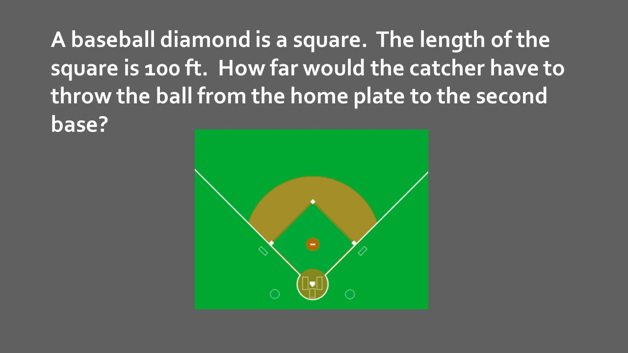 A baseball diamond is a square. The length of the square is 100 ft