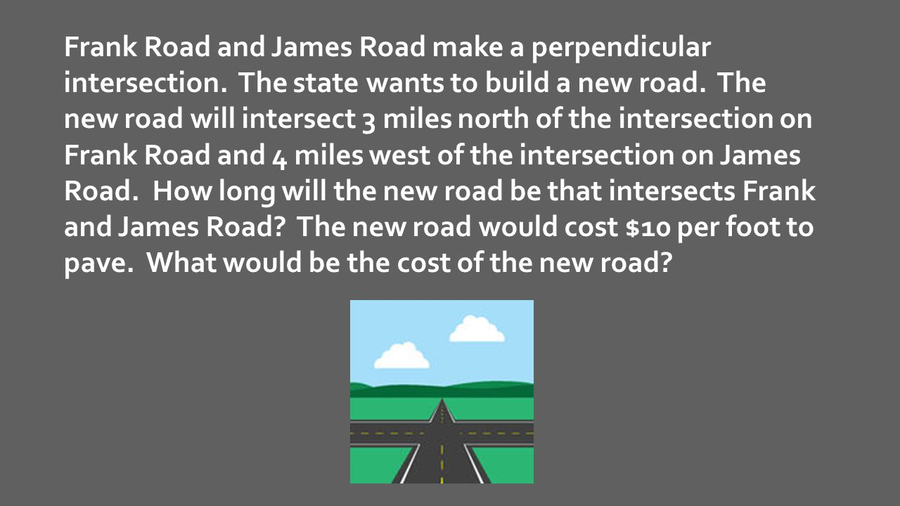 Frank Road and James Road make a perpendicular intersection