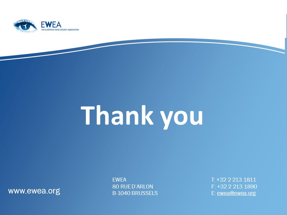 Thank you www.ewea.org EWEA 80 RUE D'ARLON B-1040 BRUSSELS