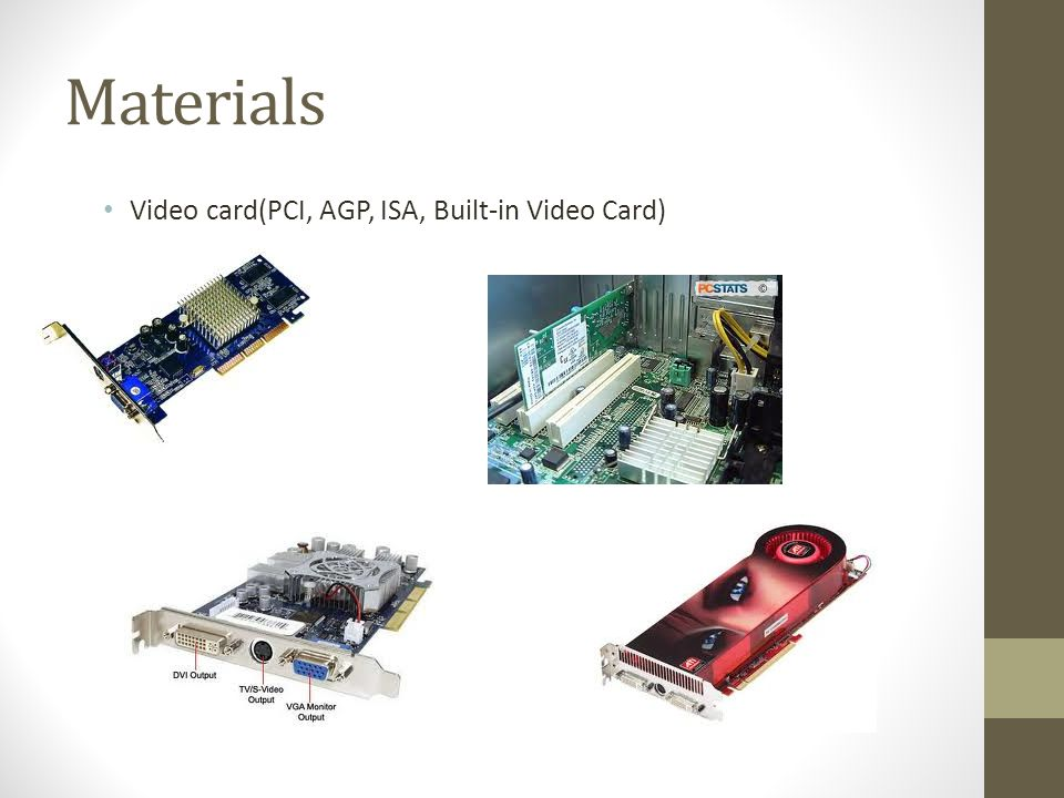 Materials Video card(PCI, AGP, ISA, Built-in Video Card)