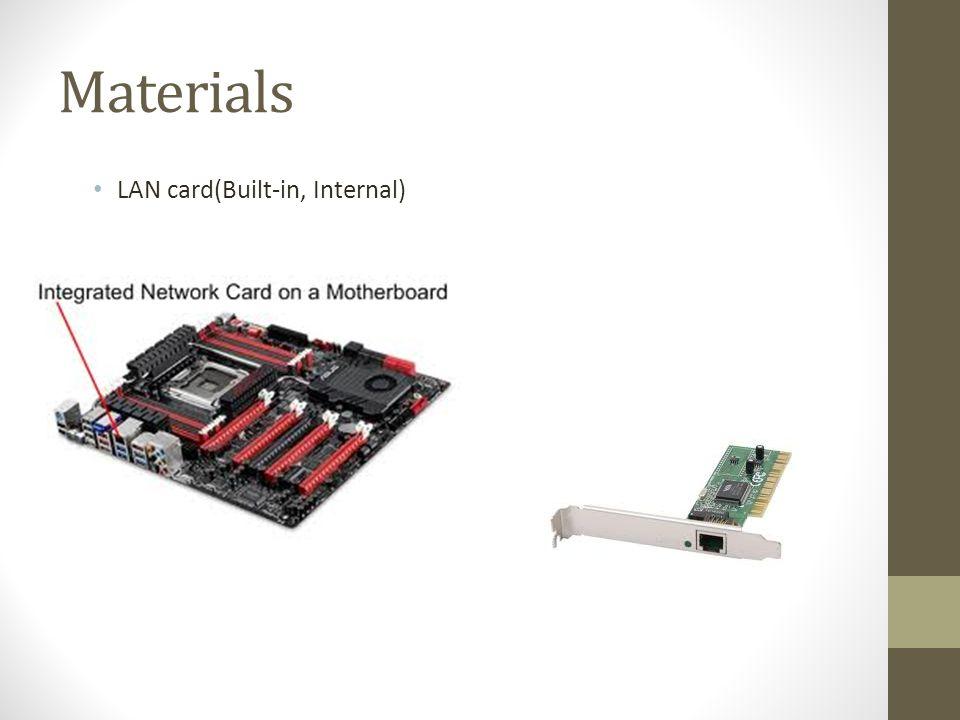 Materials LAN card(Built-in, Internal)
