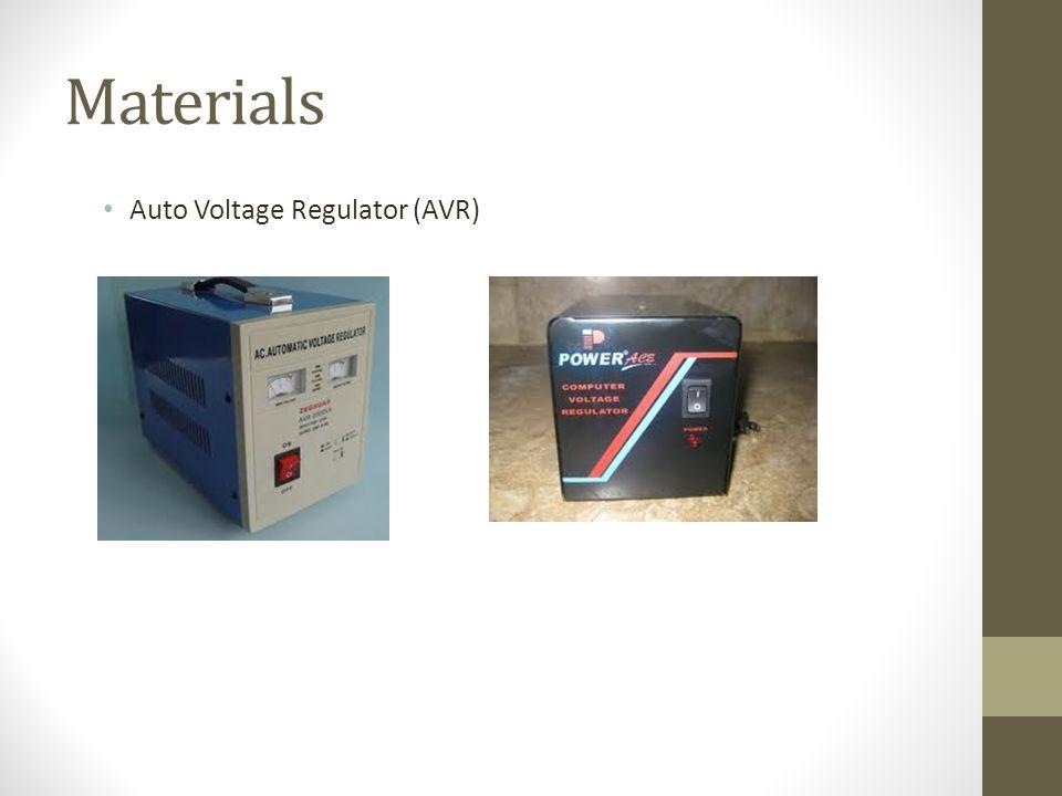 Materials Auto Voltage Regulator (AVR)