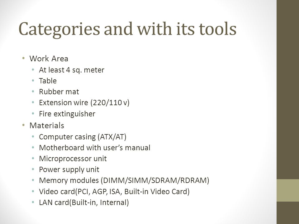 Categories and with its tools