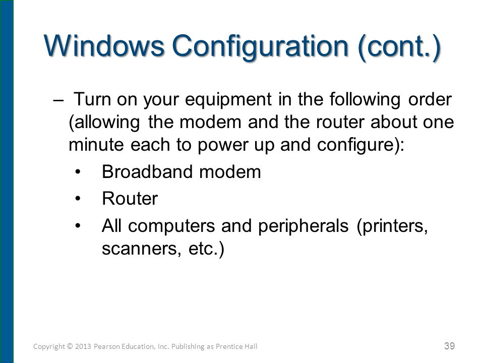 Windows Configuration (cont.)