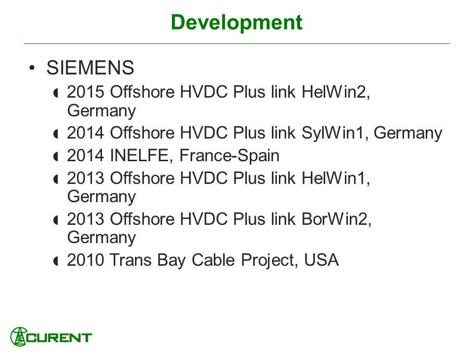 Development SIEMENS 2015 Offshore HVDC Plus link HelWin2, Germany