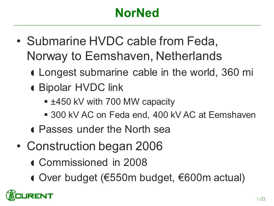 Submarine HVDC cable from Feda, Norway to Eemshaven, Netherlands