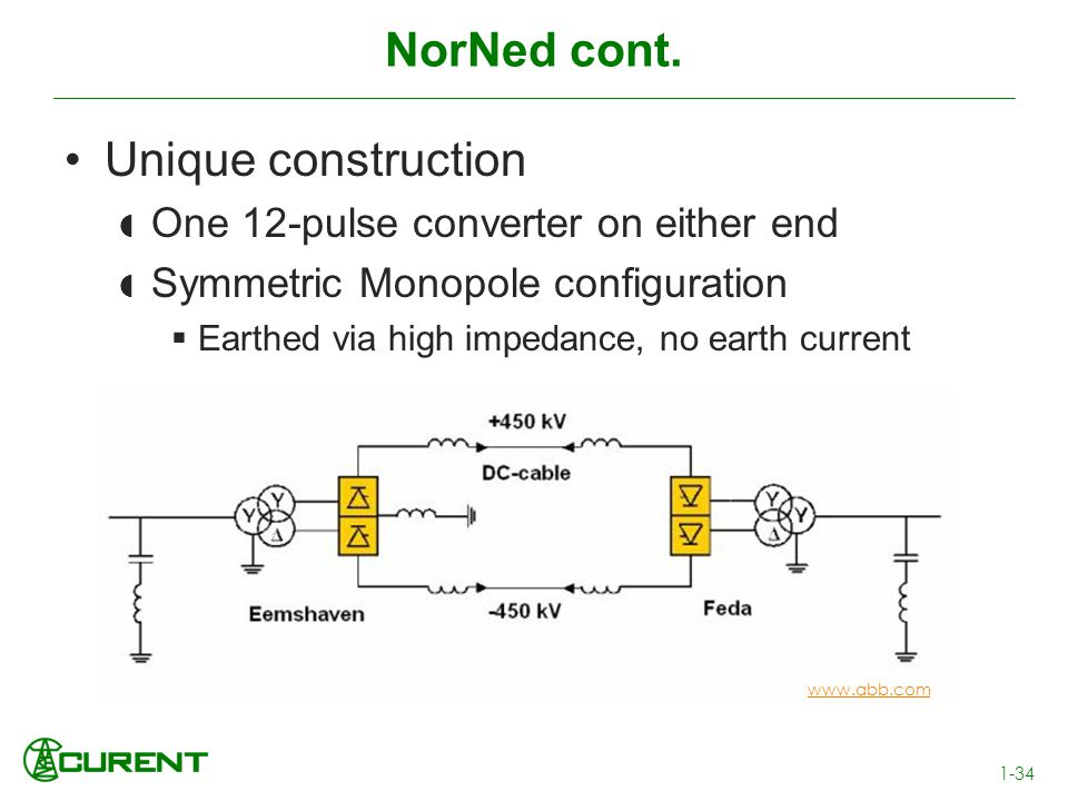 NorNed cont. Unique construction One 12-pulse converter on either end