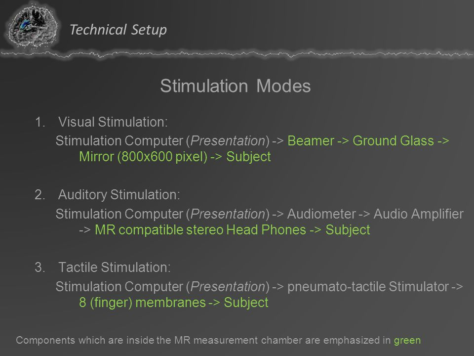 Stimulation Modes Technical Setup Visual Stimulation: