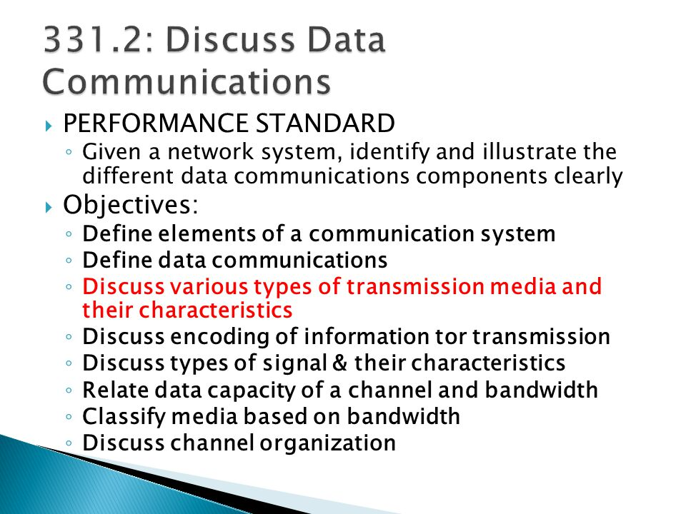 331.2: Discuss Data Communications