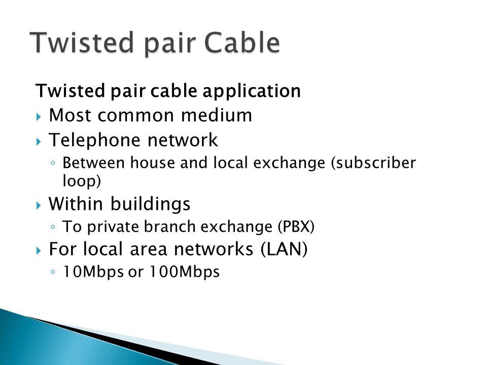 Twisted pair Cable Twisted pair cable application Most common medium