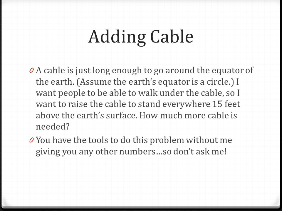 Adding Cable