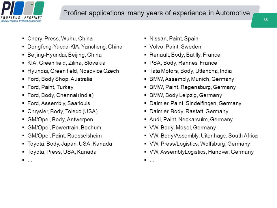 Profinet applications many years of experience in Automotive