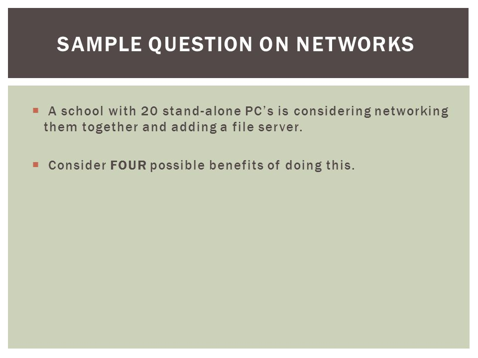Sample Question on Networks