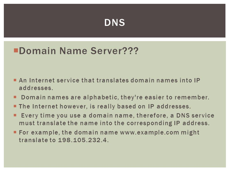DNS Domain Name Server An Internet service that translates domain names into IP addresses.