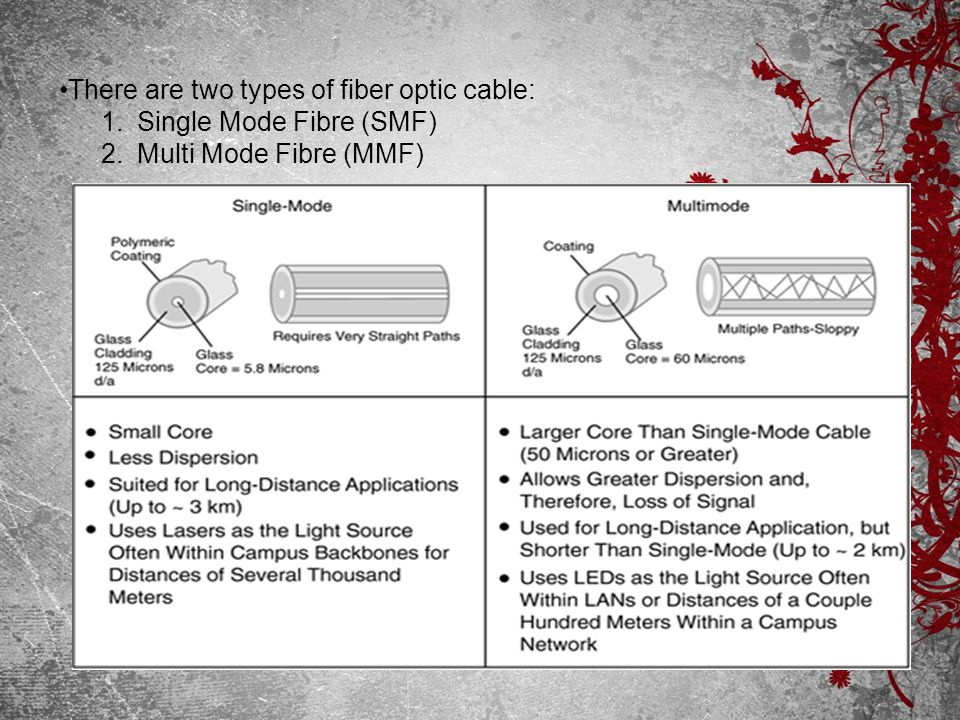 There are two types of fiber optic cable: