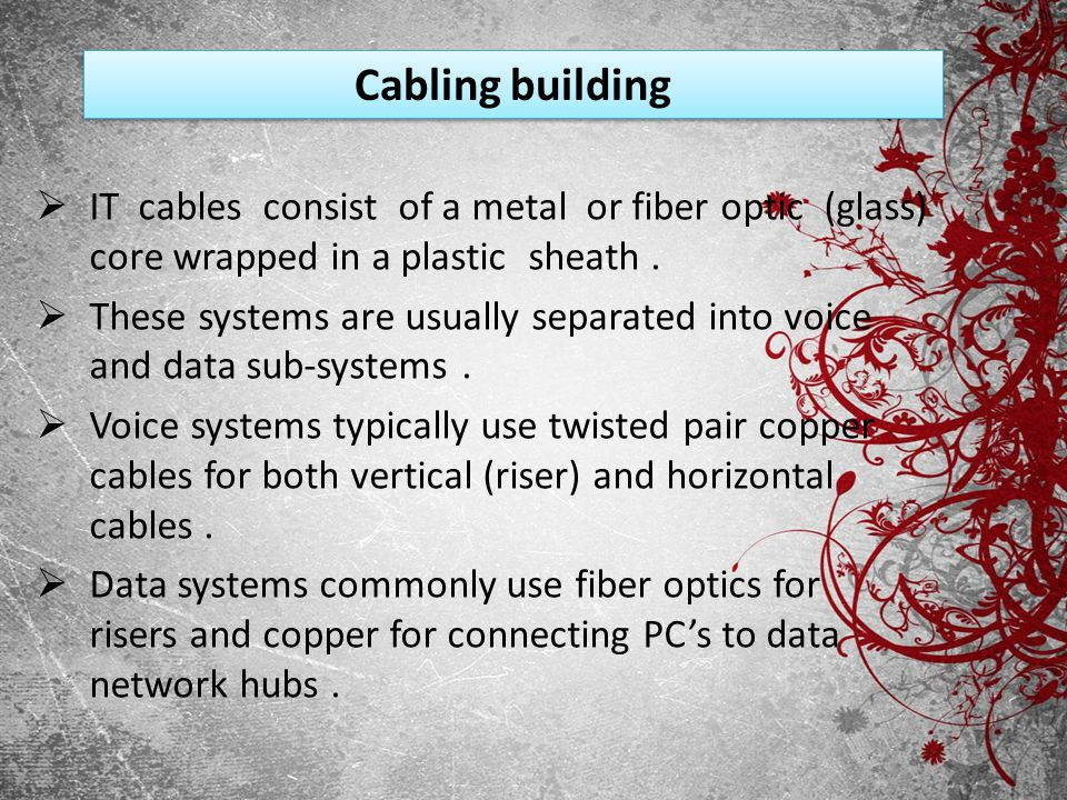 Cabling building IT cables consist of a metal or fiber optic (glass) core wrapped in a plastic sheath .