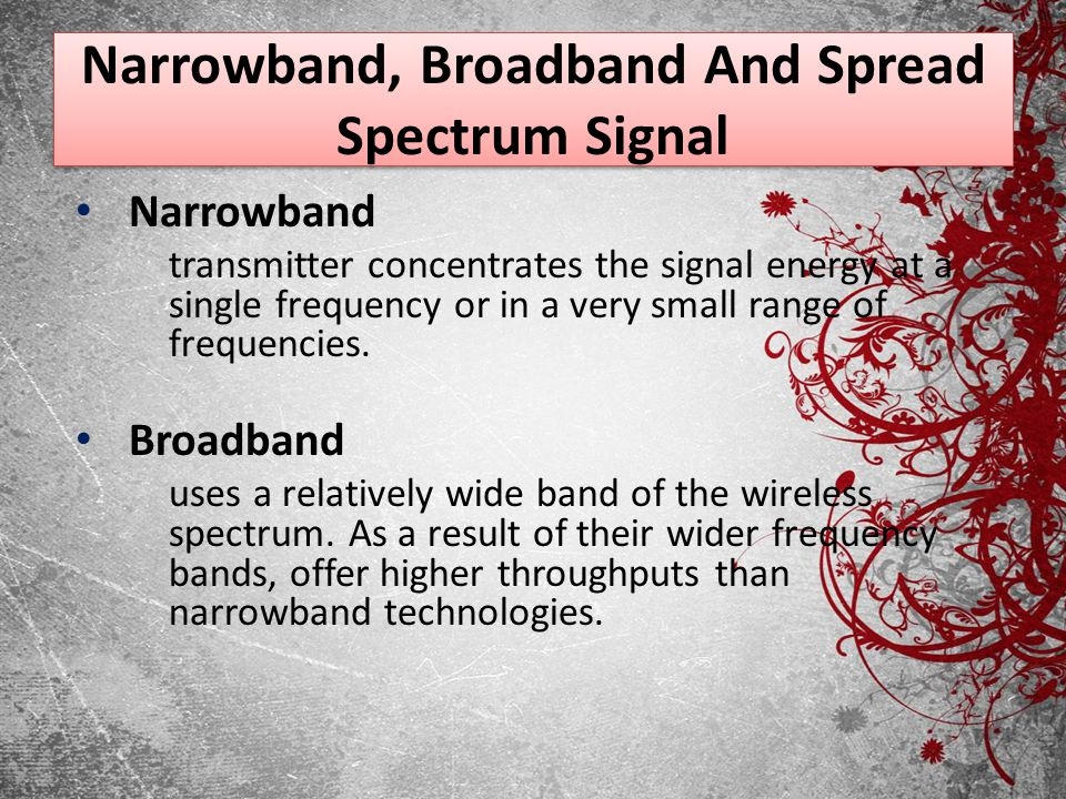 Narrowband, Broadband And Spread Spectrum Signal