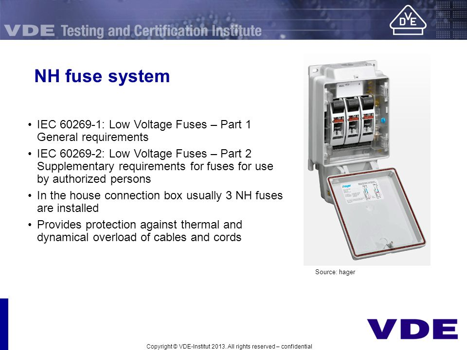 NH fuse system IEC 60269-1: Low Voltage Fuses – Part 1 General requirements.
