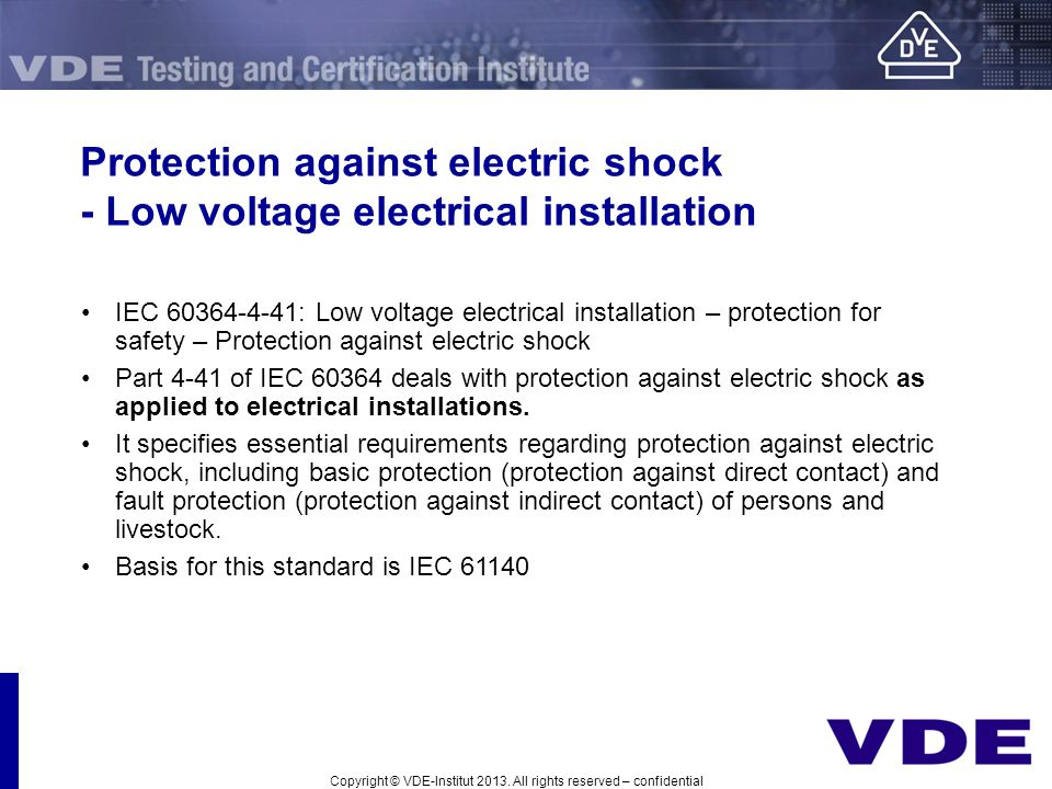 Protection against electric shock - Low voltage electrical installation