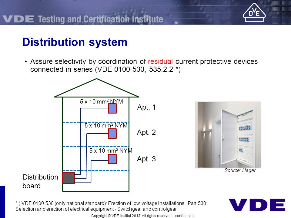 Distribution system Assure selectivity by coordination of residual current protective devices connected in series (VDE 0100-530, 535.2.2 *)