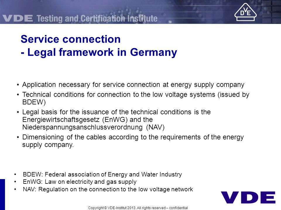 Service connection - Legal framework in Germany
